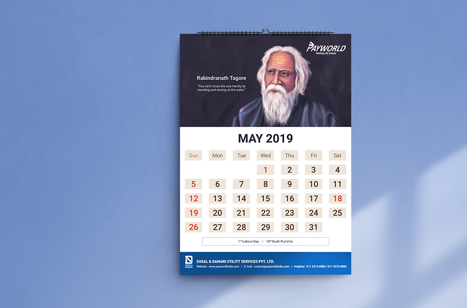 Payworld Calendar - Rabindranath Tagore